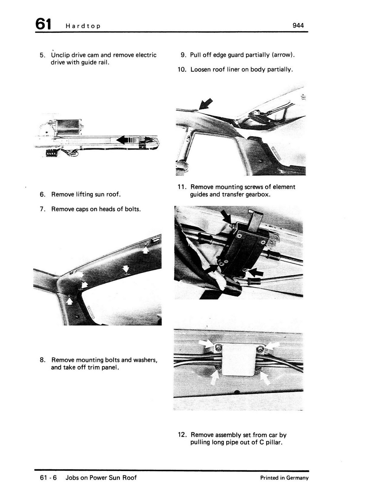 porsche 944 sunroof wiring diagram land rover discovery 3 air suspension service manual 1988 switch repair